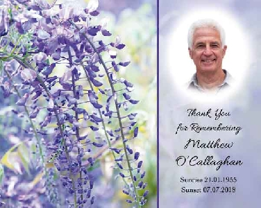Memoriam Cards Purple Flowers 9121A