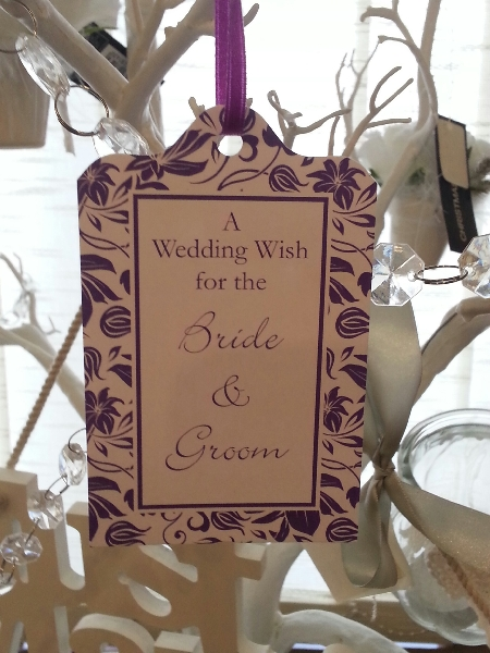 Wedding Stationery Wish Tag-Ivory Purple