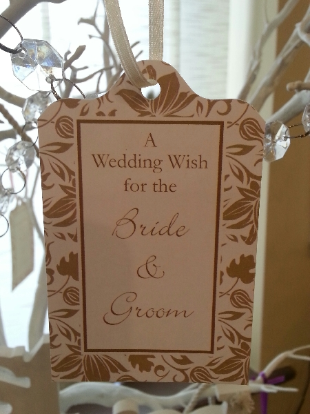 Wedding Stationery Wish Tag-Ivory Gold