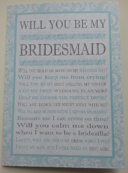 Wedding Stationery Will You Be My Bridesmaid