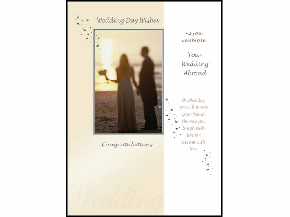 Wedding Stationery Wedding Day Wishes as you celebrate your Wedding Abroad