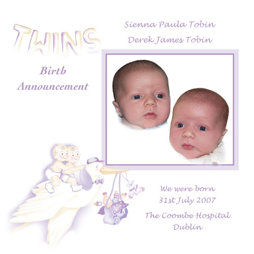 Baby Cards Twins Birth Accouncment
