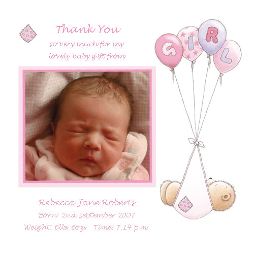 Baby Card T2g Girl Thank You Card Buy Personalised Baby Cards On