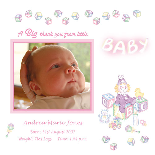 Baby Card T3g Girl Thank You Card Buy Personalised Baby Cards On