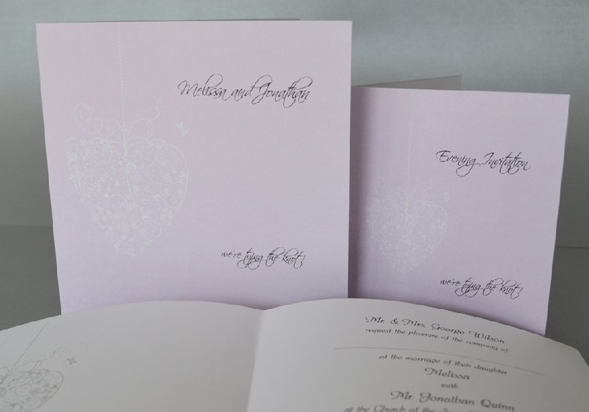 Wedding Stationery Square Flock Heart (325)