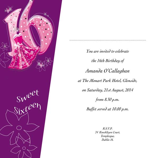 Occasion Card 16 1w Sweet 16th Birthday Wedding Invitations