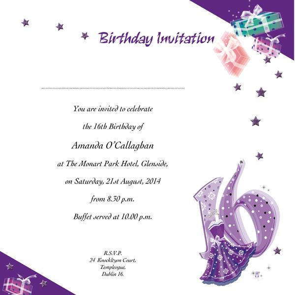 Occasion Card 16 2w Sweet 16th Birthday Wedding Invitations
