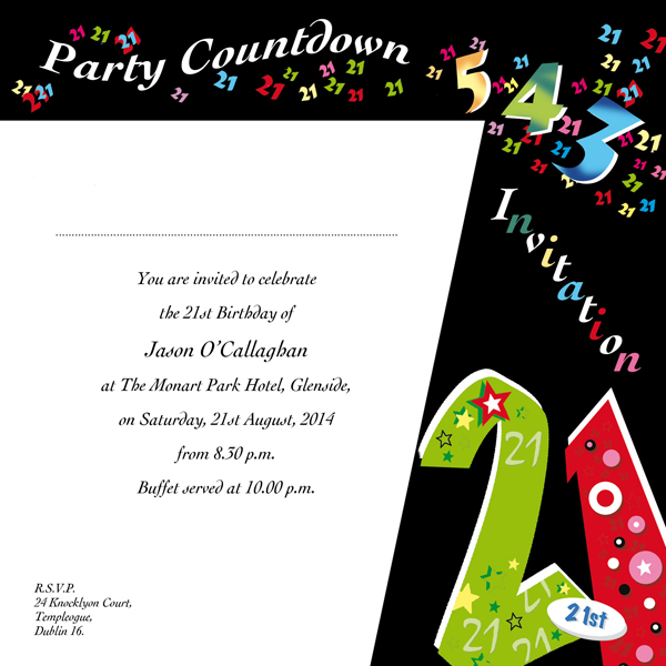 Occasion Card 21 1w 21st Birthday Wedding Invitations