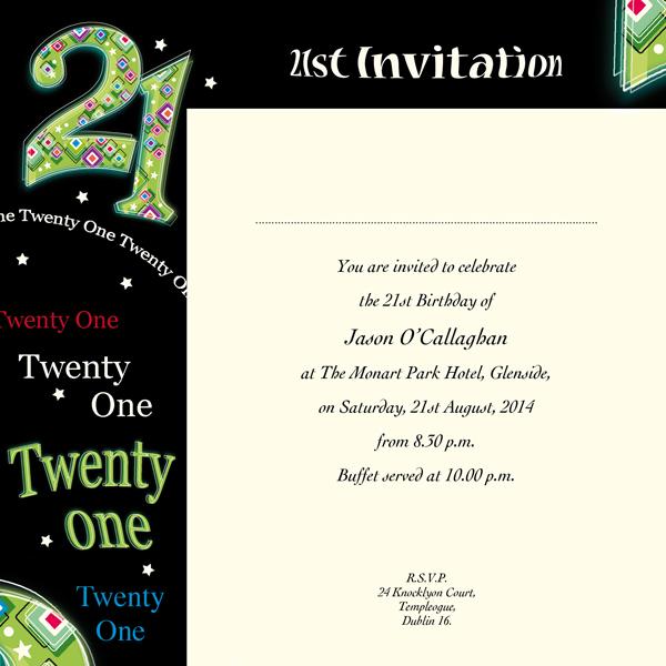 Occasion card 21 3i 21st birthday wedding invitations image enlargement stopboris Choice Image