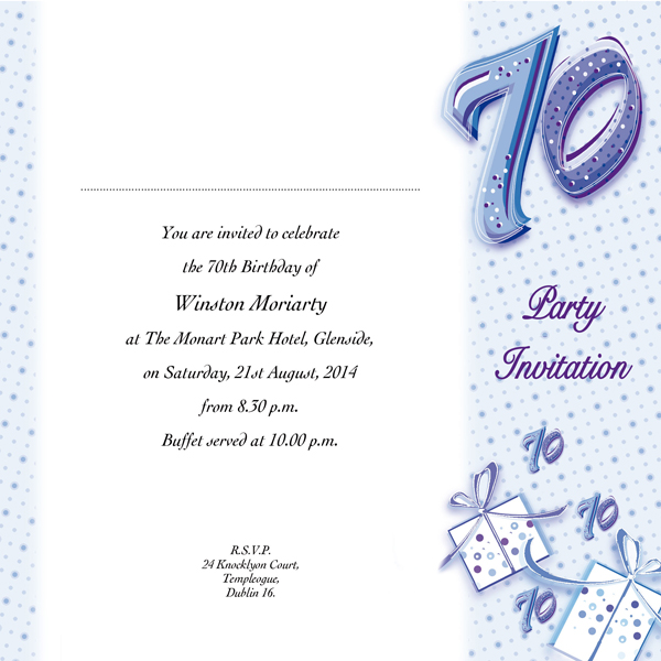 Occasion Card 70 1w 70th Birthday Wedding Invitations