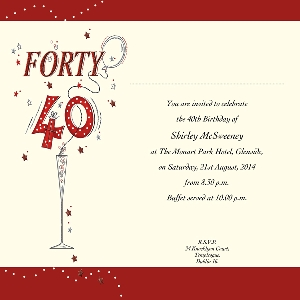 Occasion Card 40 2i 40th Birthday Wedding Invitations