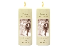 Wedding Stationery Quirky Bride + Groom Side Candles with Keepsake Wraps
