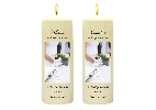 Wedding Stationery Couple + Bouquet Side Candles with Keepsake Wraps