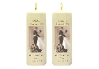 Image of Sepia Bride+Groom Side Candles with Keepsake Wraps