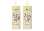 Wedding Stationery Flock Heart Side Candles with Keepsake Wraps