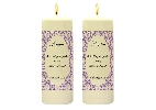 Wedding Stationery Oval Flock Side Candles with Keepsake Wraps