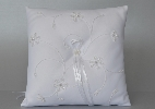 Wedding Stationery White Ring Cushion (Embroidery)